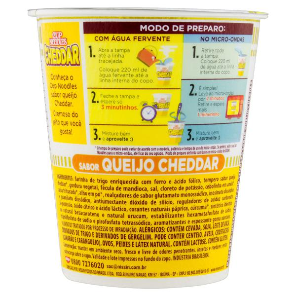 Macarrão Instantâneo Queijo Cheddar Nissin Cup Noodles Copo 69g