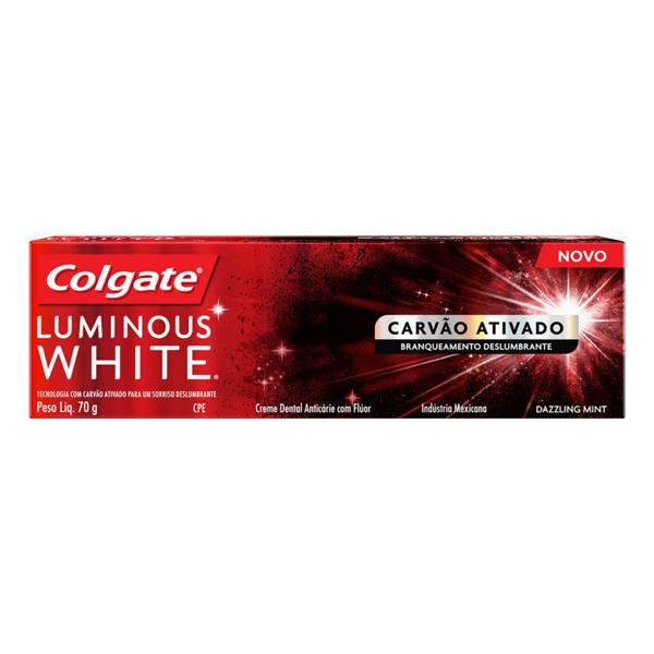 Creme Dental Carvão Ativado Dazzling Mint Colgate Luminous White Caixa 70g