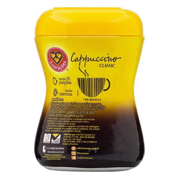 Cappuccino Solúvel Classic 3 Corações Pote 400g