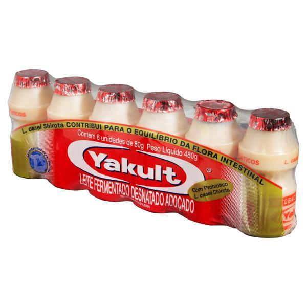 Pack Leite Fermentado Desnatado Yakult Frasco 480g 6 Unidades