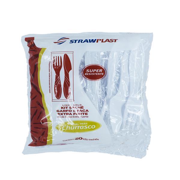 Kit Garfos e Facas STRAWPLAST Extra Resistentes Brancos com 20 Unidades