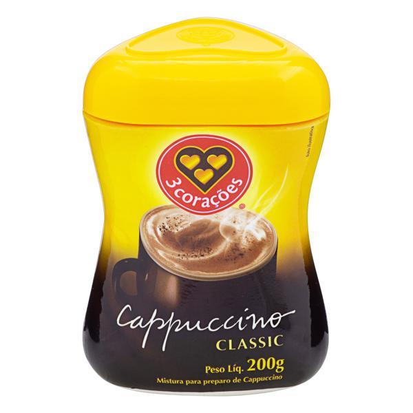 Cappuccino Solúvel Classic 3 Corações Pote 200g
