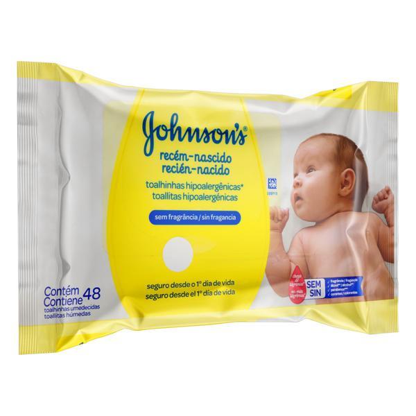 Toalha Umedecida sem Fragrância Johnson's Recém-Nascido 20cm x 15cm Pacote 48 Unidades