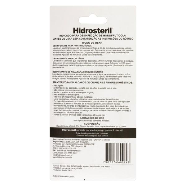 Desinfetante Líquido para Hortifruti Hidrosteril Blister 50ml
