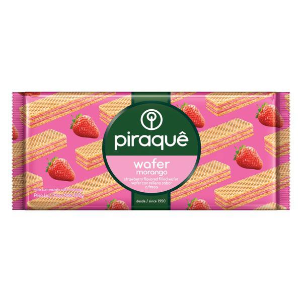 Biscoito Wafer Recheio Morango Piraquê Pacote 160g