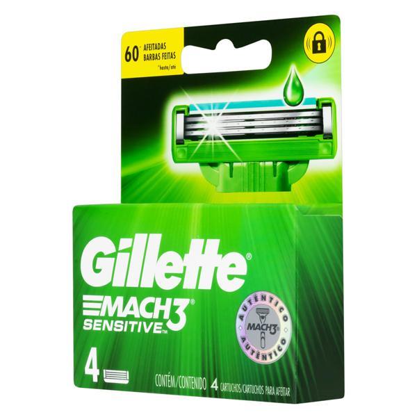 Carga de Aparelho para Barbear Gillette Mach3 Sensitive 4 Unidades