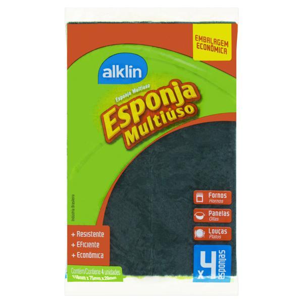 Esponja Multiuso Alklin 4 Unidades Embalagem Econômica