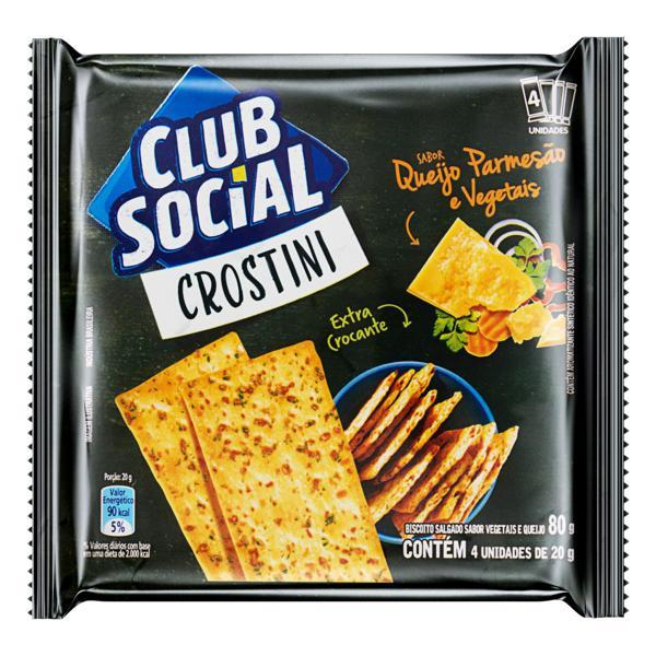 Pack Biscoito Crostini Queijo Parmesão e Vegetais Club Social Pacote 80g 4 Unidades