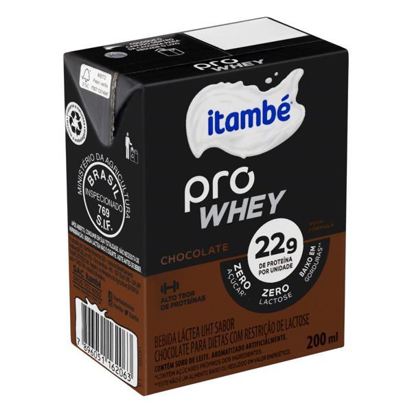 Bebida Láctea UHT Chocolate Zero Lactose Itambé Pro Whey Caixa 200ml