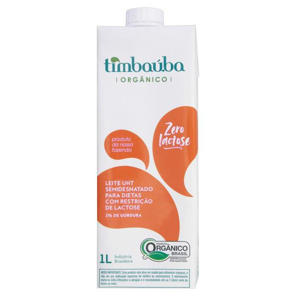 Leite UHT Semidesnatado Orgânico Zero Lactose Timbaúba Caixa com Tampa 1l