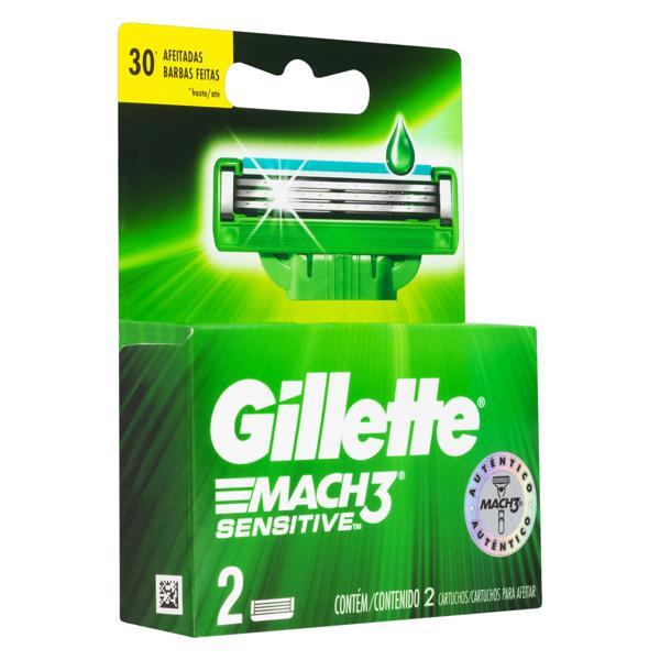 Carga de Aparelho para Barbear Gillette Mach3 Sensitive 2 Unidades