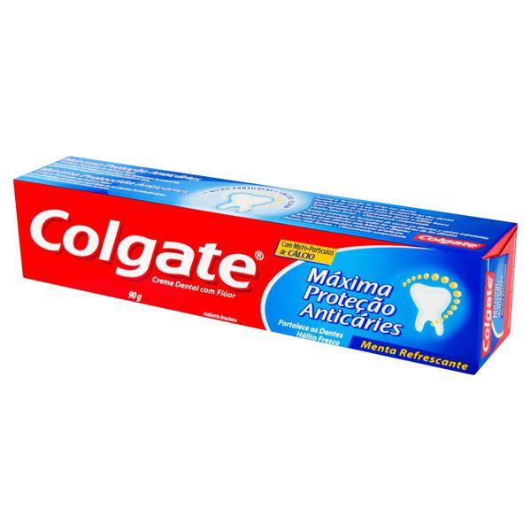 Creme Dental Menta Refrescante Colgate Máxima Proteção Anticáries Caixa 90g