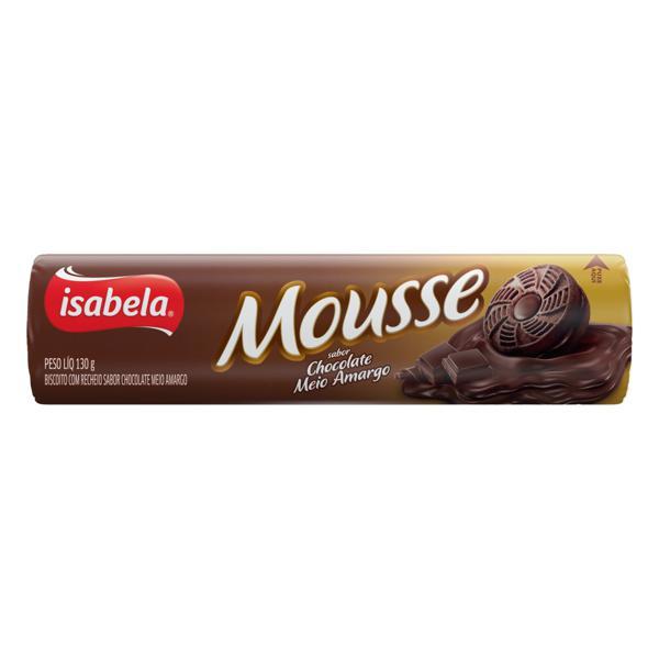 Biscoito Recheio Chocolate Meio Amargo Isabela Mousse Pacote 130g