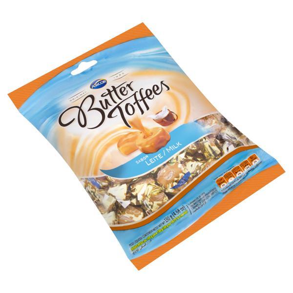 Bala de Caramelo Leite Arcor Butter Toffees Pacote 130g
