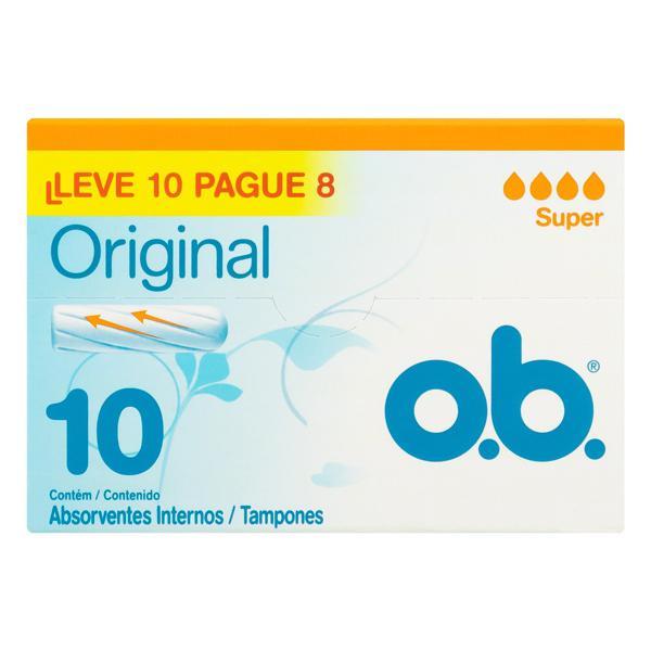 Absorvente Interno Original O.B. Super Caixa Leve 10 Pague 8 Unidades