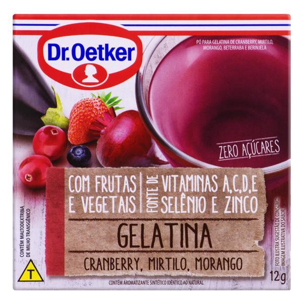 Gelatina em Pó Cranberry, Mirtilo e Morango Zero Açúcar Dr. Oetker Caixa 12g