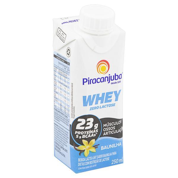 Bebida Láctea UHT Baunilha Zero Lactose Piracanjuba Whey Caixa 250ml