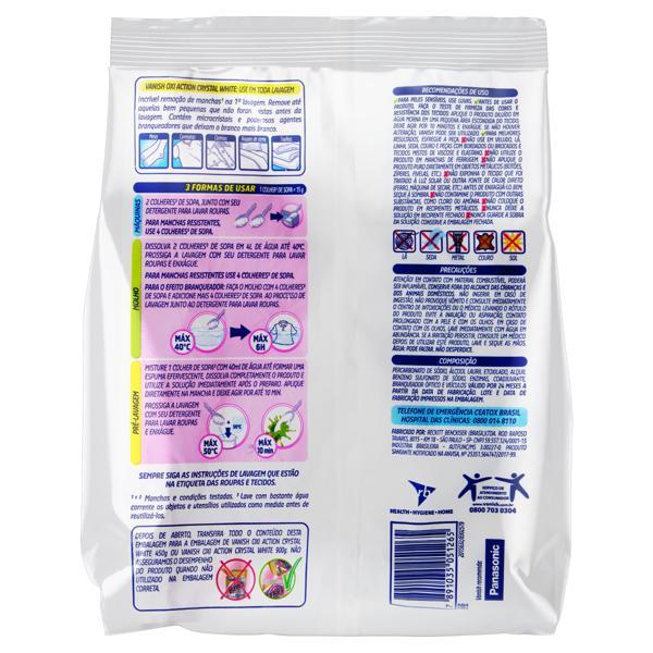 Tira-Manchas em Pó Branqueador Vanish Oxi Action Crystal White Pacote 400g Refil Econômico