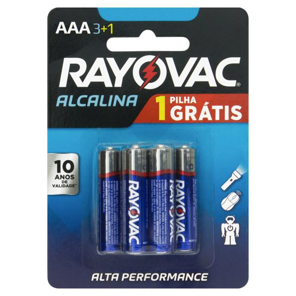 Pilha Alcalina AAA Rayovac 4 Unidades 1,5V Grátis 1 Pilha