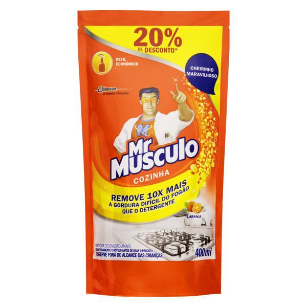 Limpador Desengordurante Cozinha Laranja Mr Músculo Sachê 400ml Refil Econômico Grátis 20% de Desconto