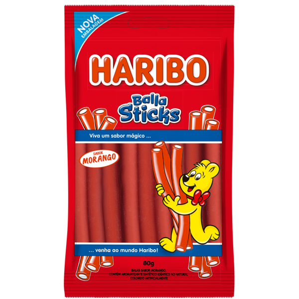 Bala Gelatina Haribo Sticks Morango 80G