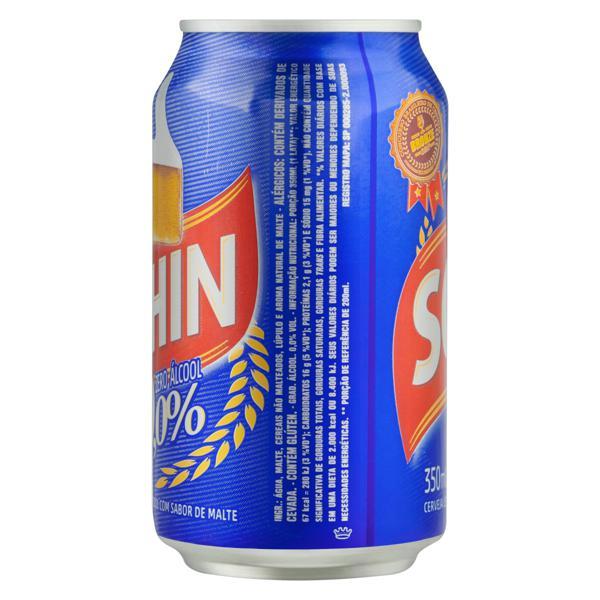 Cerveja Pilsen Zero Álcool Schin Lata 350ml