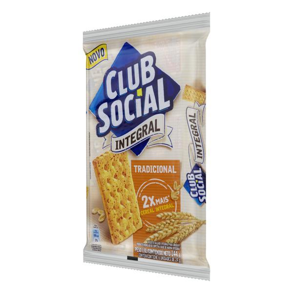 Pack Biscoito Integral Tradicional Club Social Pacote 144g 6 Unidades