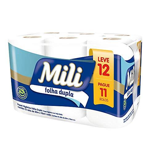 Papel Higienico Mili Folha Dupla 30Mx10Cm Leve 12 Pague 11 Neutro