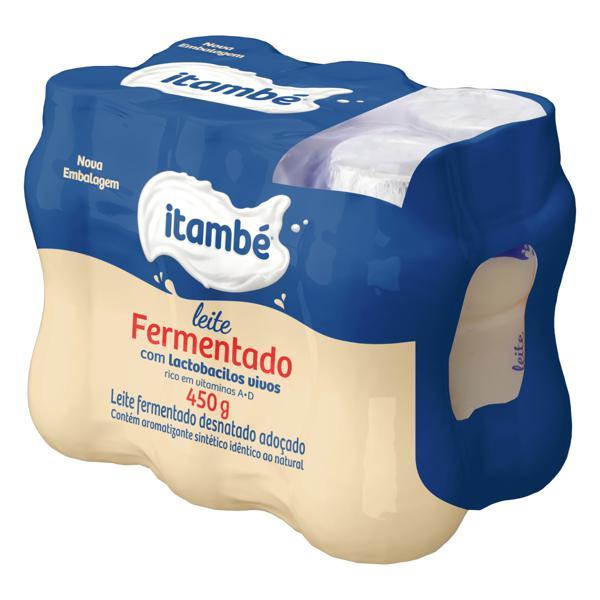 Pack Leite Fermentado Adoçado Desnatado Itambé Frasco 450g 6 Unidades