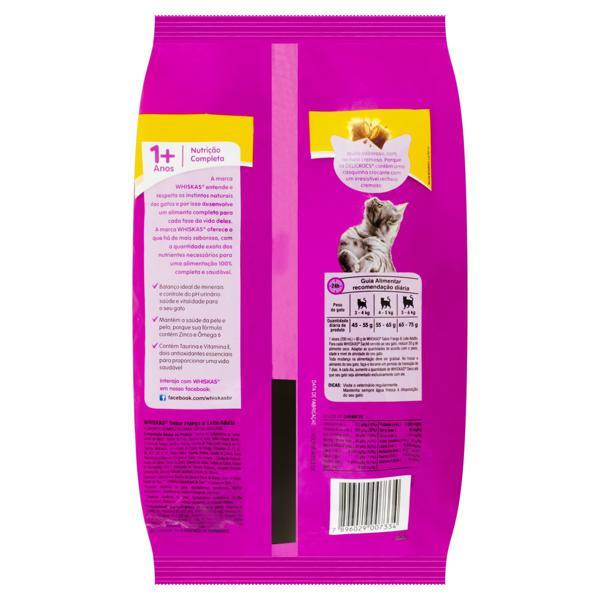 Alimento para Gatos Adultos 1+ Frango e Leite Whiskas Pacote 1kg