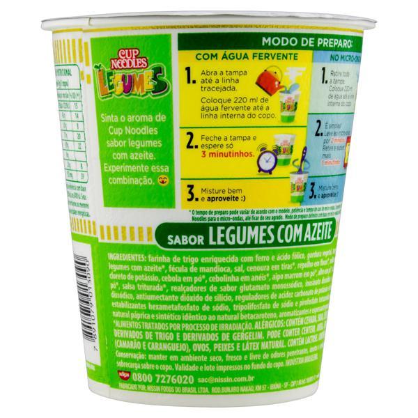 Macarrão Instantâneo Legumes com Azeite Nissin Cup Noodles Copo 67g