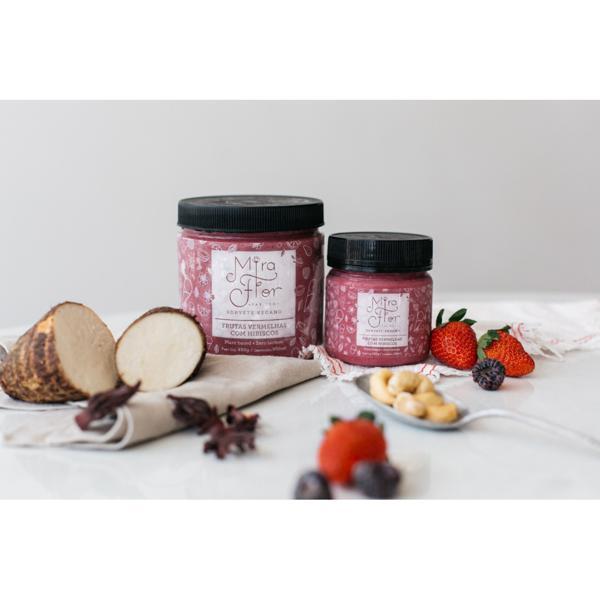 Sorvete Vegano de Frutas Vermelhas com Hibisco 500ml - Mira Flor
