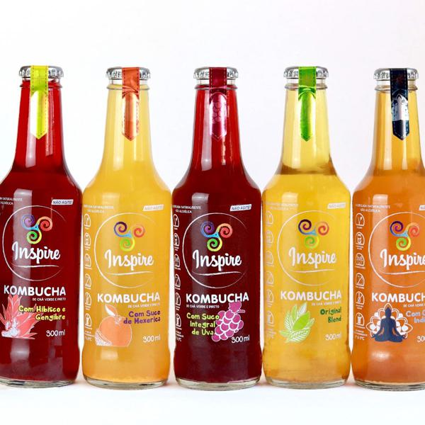 Caixa com 12 unidades Kombucha Inspire 300ml mix de sabores - Inspire Alimentação Viva
