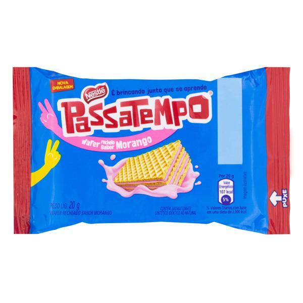 Biscoito Wafer com Recheio de Morango Nestlé Passatempo Pacote 20g