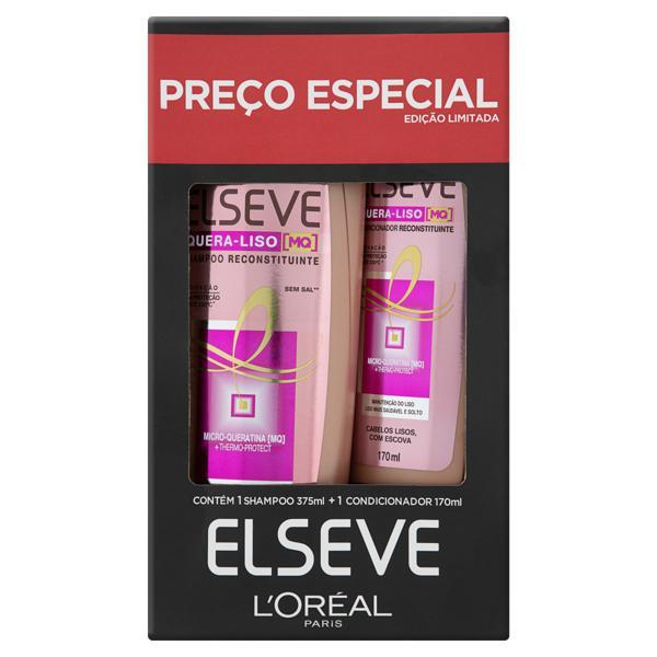 Kit Shampoo 375ml + Condicionador 170ml L'oréal Paris Elseve Quera-Liso
