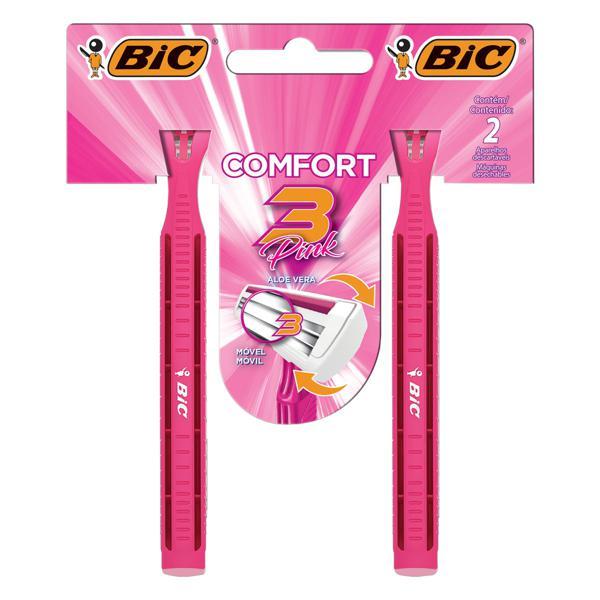 Aparelho de Depilar Descartável Bic Comfort 3 Pink 2 Unidades