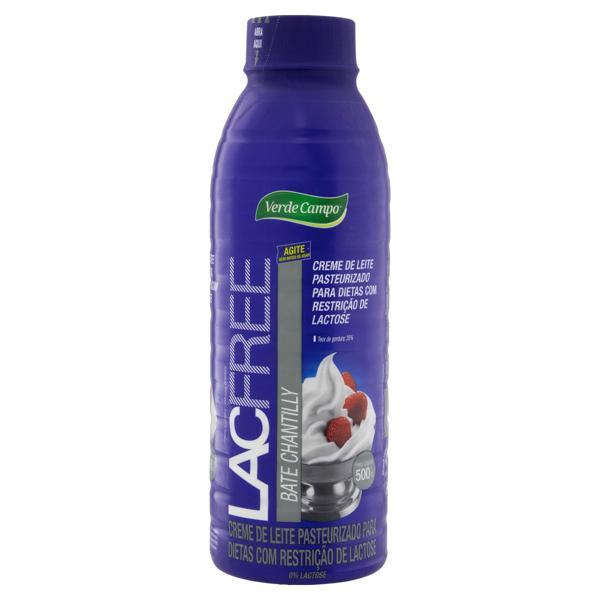 Creme de Leite Pasteurizado Bate Chantilly Zero Lactose Verde Campo Lacfree Garrafa 500g