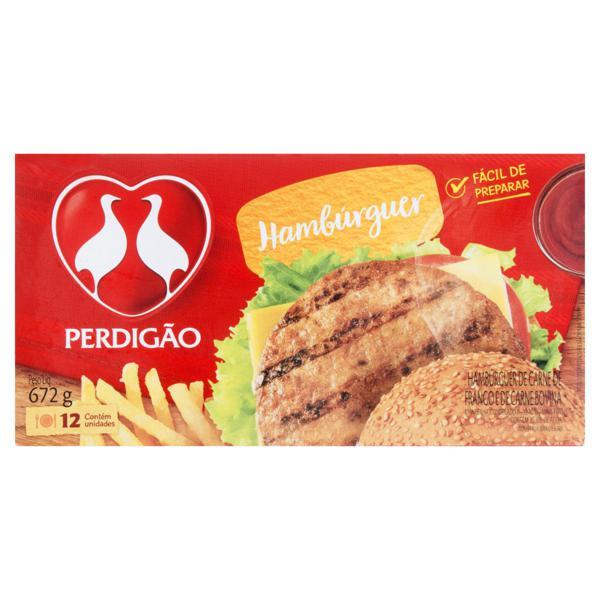 Hambúrguer Frango e Carne Bovina Perdigão Caixa 672g 12 Unidades