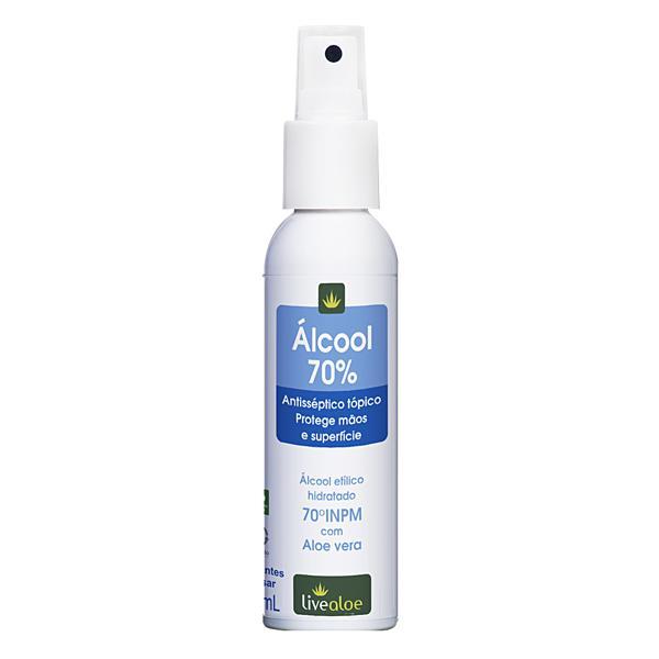 Álcool 70% com Aloe Vera 100ml - LIVEALOE