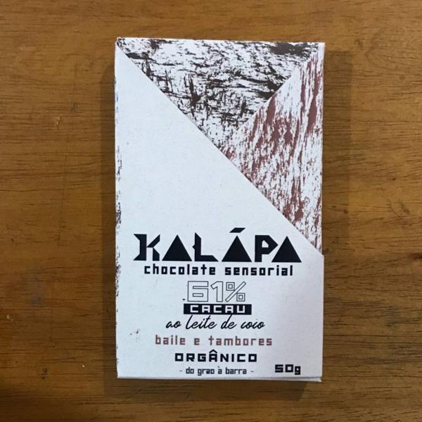 Barra de chocolate 61% cacau Ao Leite de Coco Tostado 50g - Kalapa