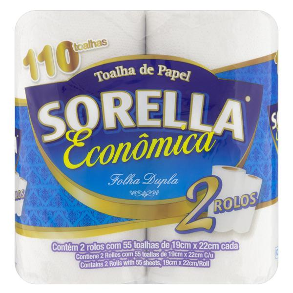 Toalha de Papel Folha Dupla Sorella 19cm x 22cm Pacote 2 Unidades Econômica