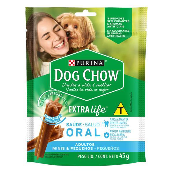 Petisco para Cães Adultos Raças Minis e Pequenas Purina Dog Chow Saúde Oral Pouch 45g 3 Unidades