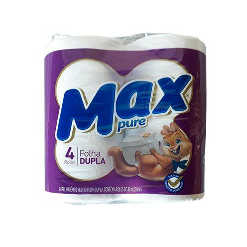 Papel Higiênico MAX PURE Folha Dupla com 4 Unidades