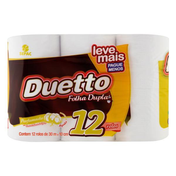 Papel Higiênico Folha Dupla Perfumado Duetto 30m Pacote 12 Unidades Leve Mais Pague Menos