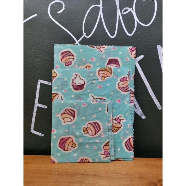 Tecido Sustentável Pano de Cera de Abelha Kit Com 3 Tamanhos Cupcakes (P, M e G) BIOPANOS