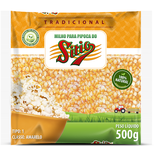Milho Para Pipoca Do Sitio 500G Pacote Tradicion.