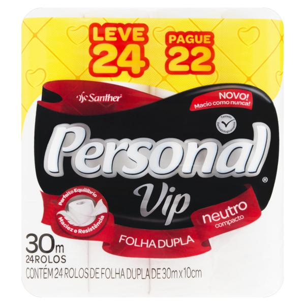 Papel Higiênico Folha Dupla Neutro Personal Vip 30m Pacote Leve 24 Pague 22 Unidades
