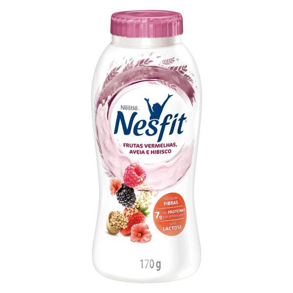 Iogurte Desnatado Frutas Vermelhas, Aveia e Hibisco Zero Lactose Nestlé Nesfit Frasco 170g