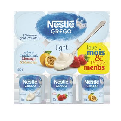Iogurte Parcialmente Desnatado Grego Maracujá + Morango + Tradicional Light Nestlé Bandeja 540g 6 Unidades