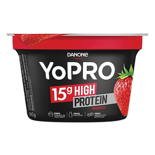Iogurte Desnatado Morango Zero Lactose YoPRO 15g High Protein Pote 160g